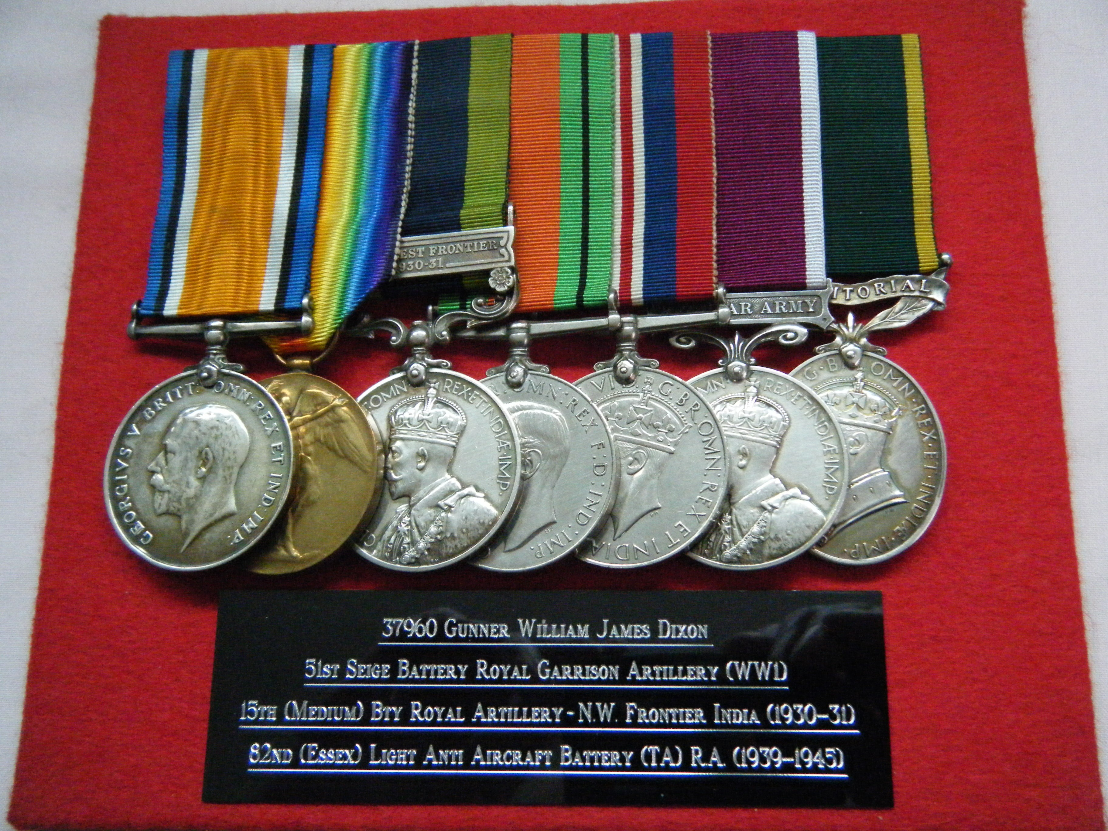 SEVEN.  37960/1408089 Gnr. W.J. Dixon, Royal Artillery (with full copy papers).