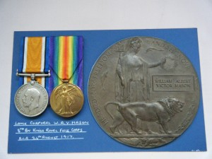 THREE.  R-23100 Pte. W.A.V. Mason, King's Royal Rifle Corps (killed in action on 24/8/17).